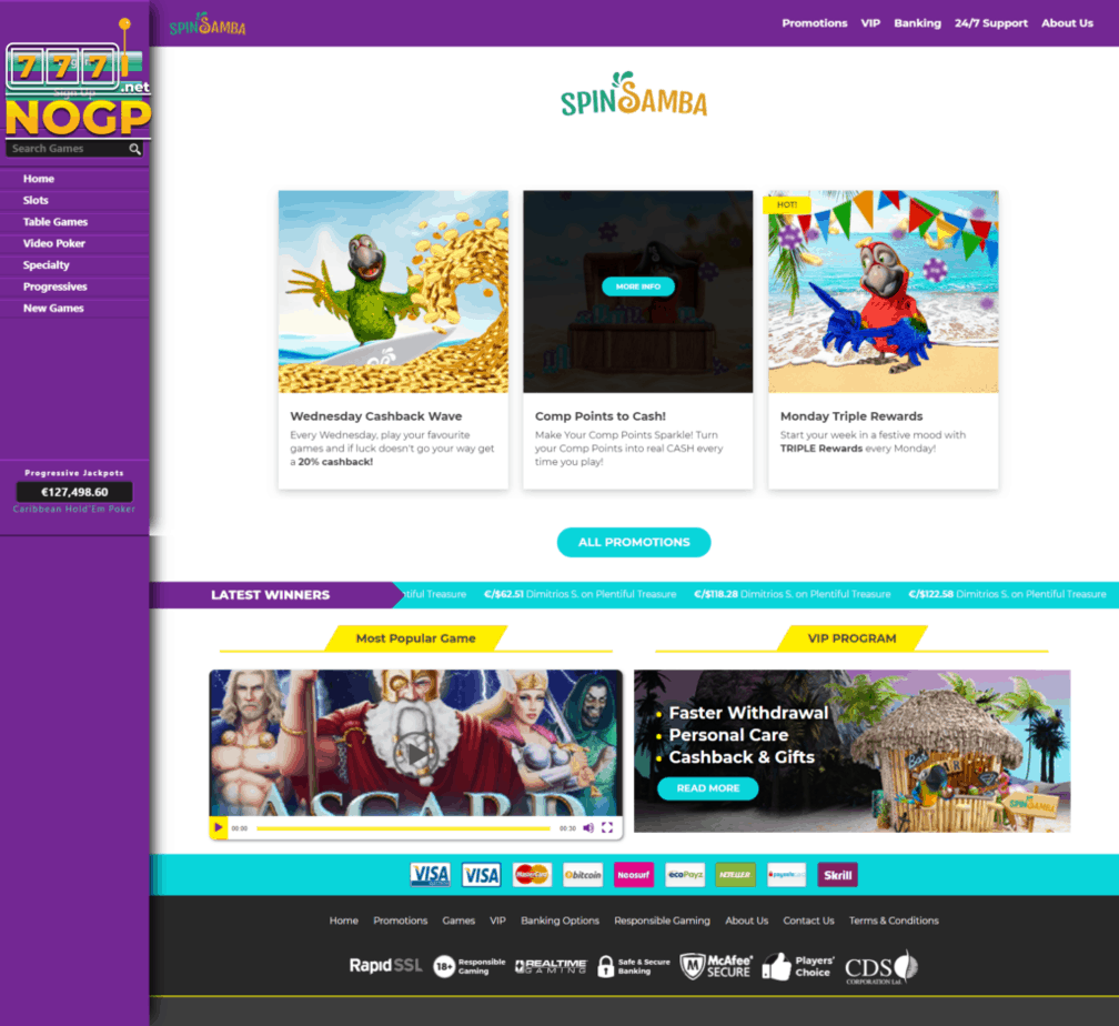 Spin Samba Casino screenshot