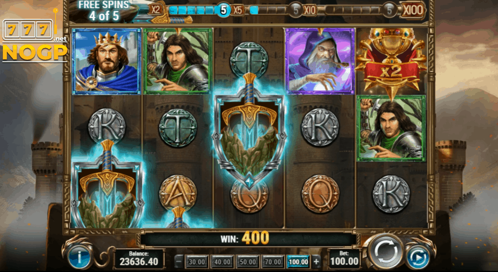 The Sword and the Grail slot - Free spins feature