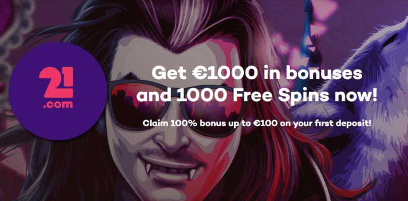 21.com Casino geeft welkomstbonus een upgrade: €1000,- + 1000 gratis spins.