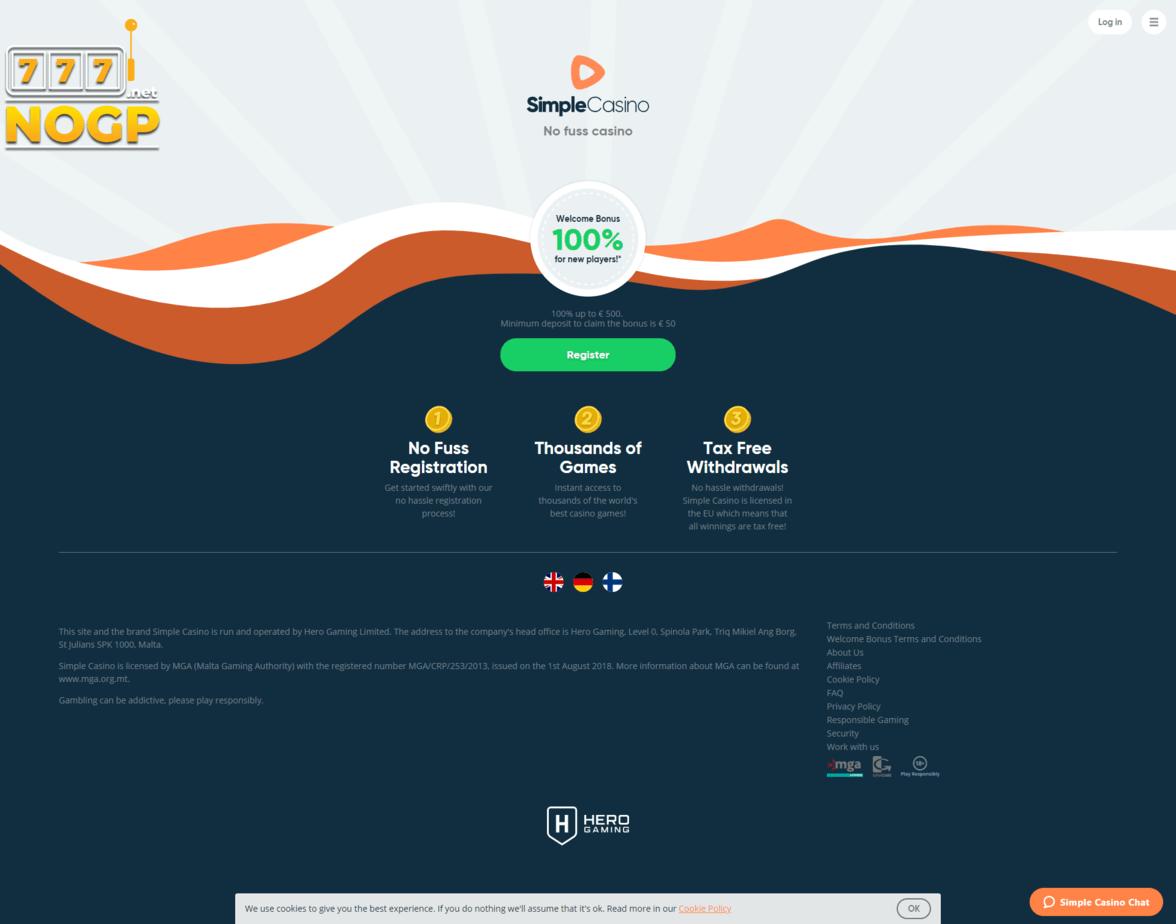 Simple Casino screenshot homepage