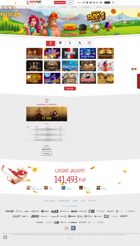 Supercat Casino screenshot homepage