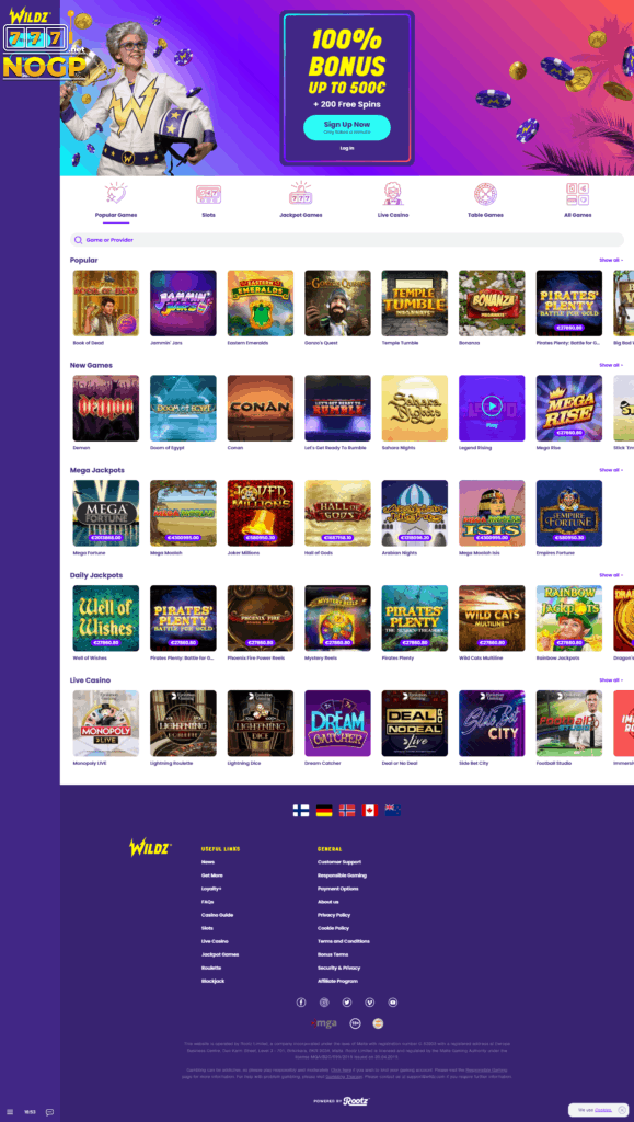 Wildz Casino review casino lobby