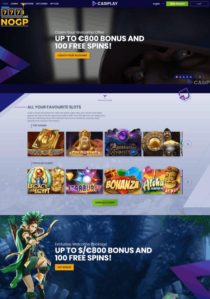 Casiplay Casino homepage screenshot