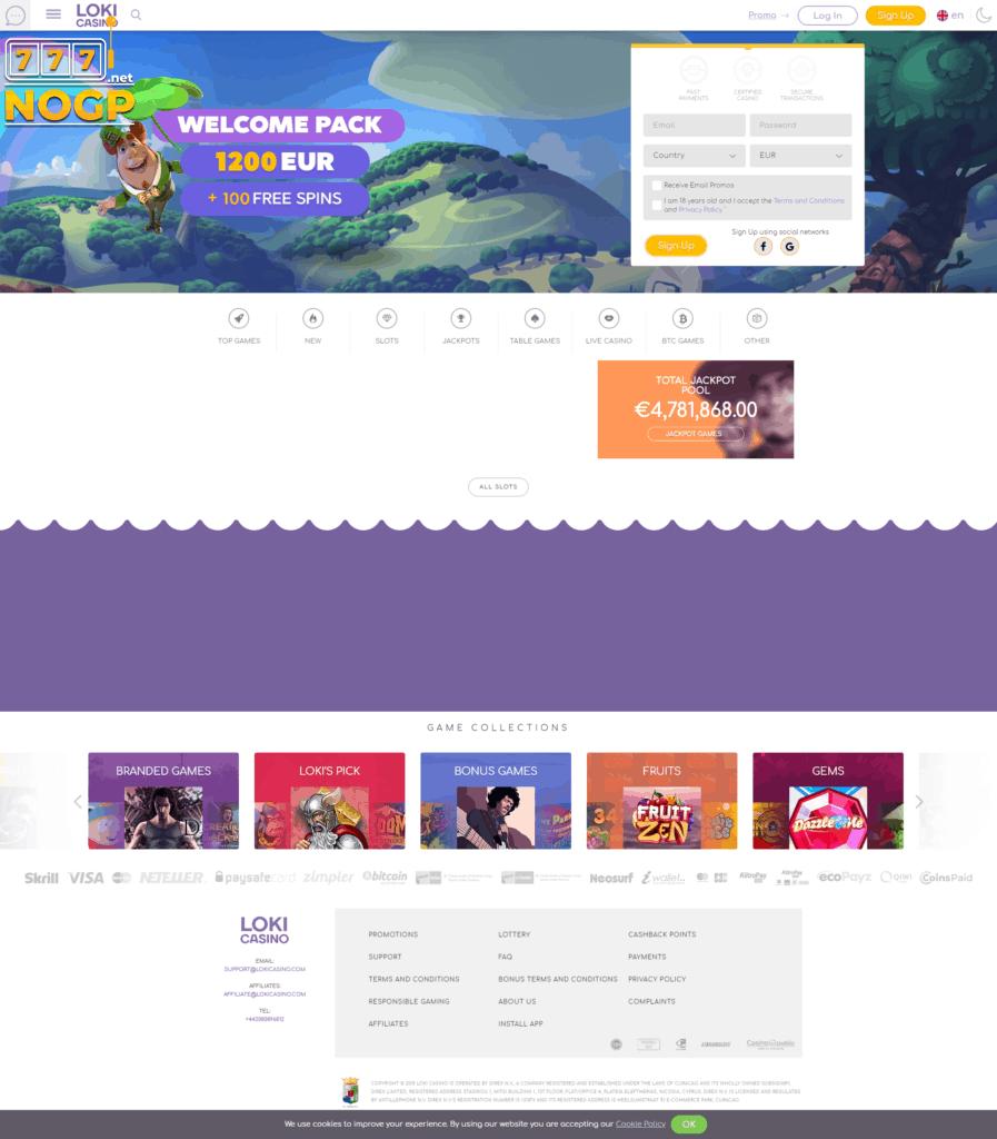 Loki Casino screenshot homepage