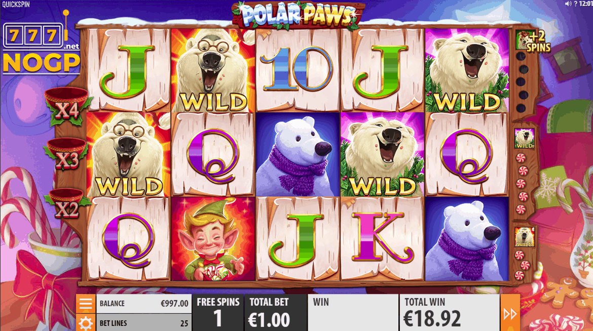 Polar Paws video slot - Free spins feature