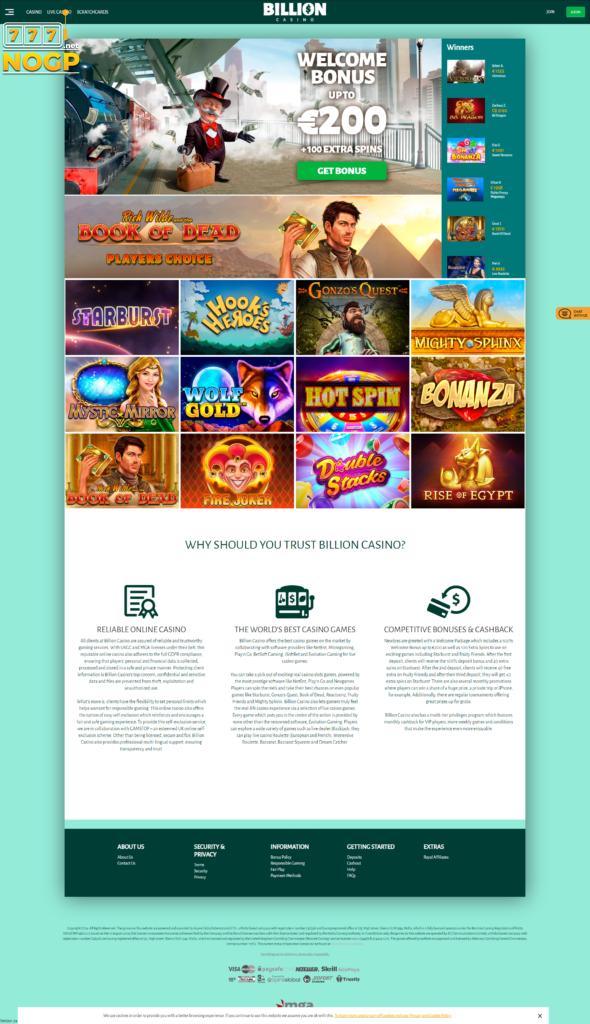 Billion Casino's homepage