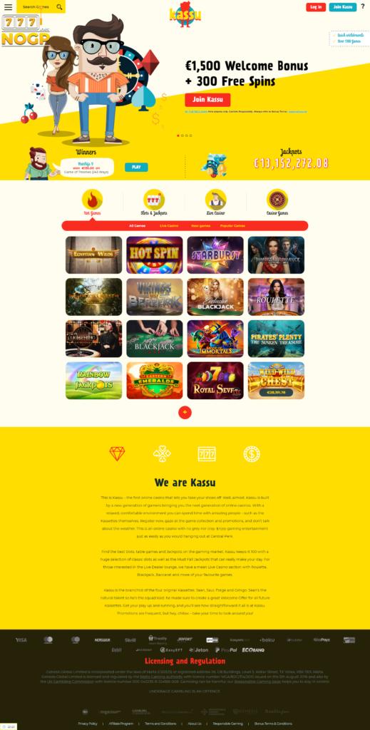 Kassu Casino's homepage
