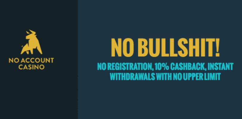 Levenslang 10% cashback bij No Account Casino