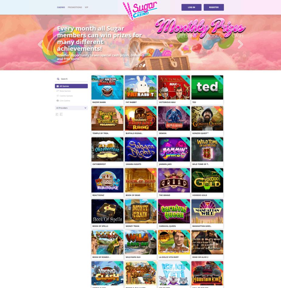Sugar Casino homepage