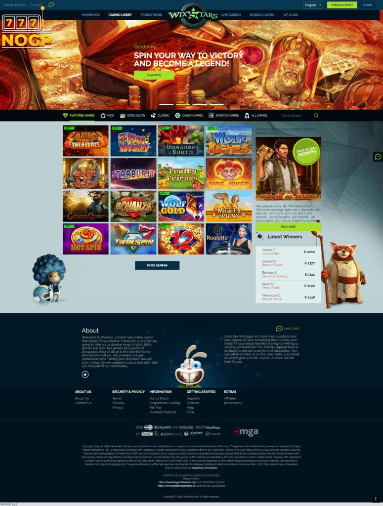 Homepage of Wixstars Casino