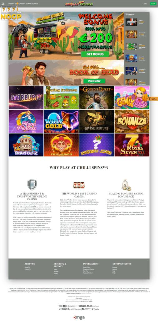 Screenshot of Chilli Spins Casino's homepage