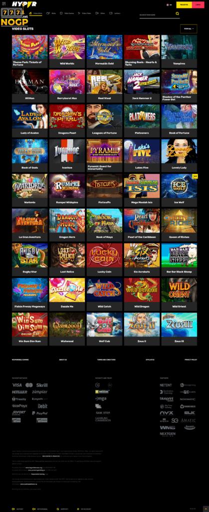 Slots at Hyper Casino