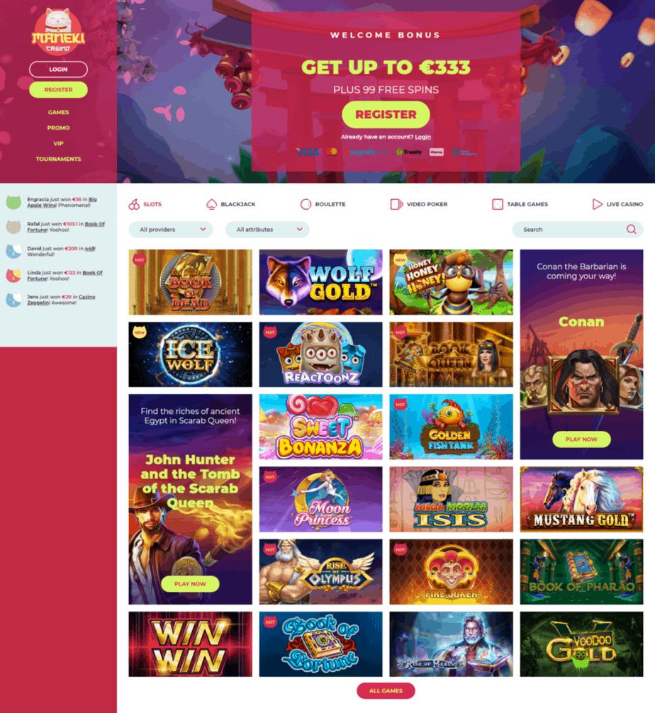 Maneki casino's homepage