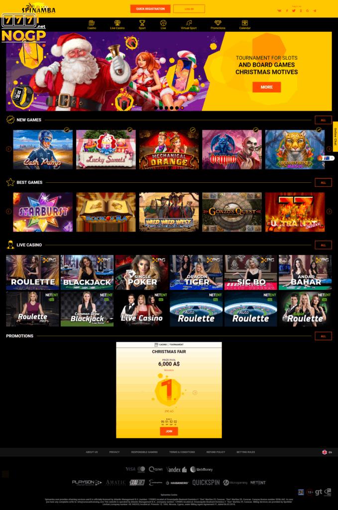Spinamba's Casino Homepage