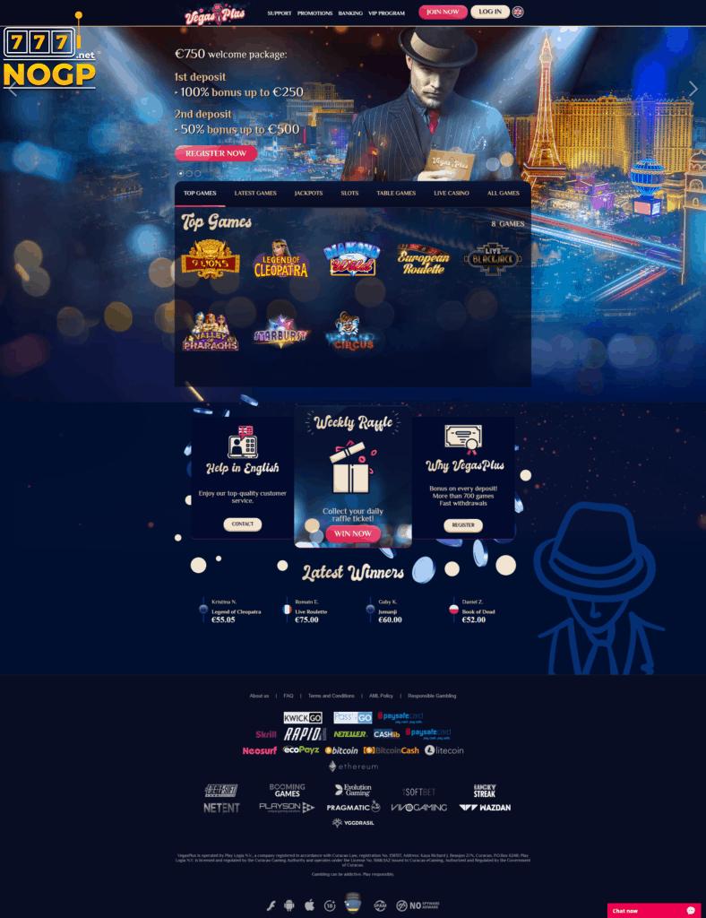 Vegas Plus screenshot homepage