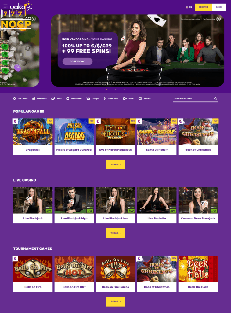 New homepage Yako Casino