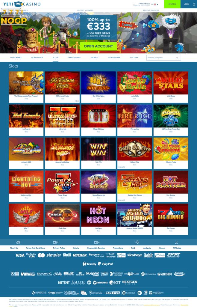 Classic slots at Yeti Casino
