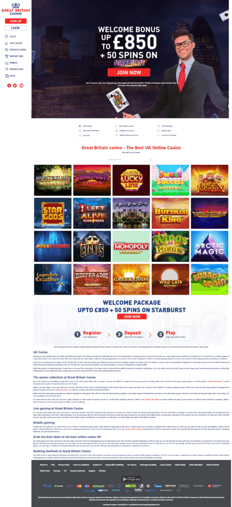 Great Britain Casino's homepage