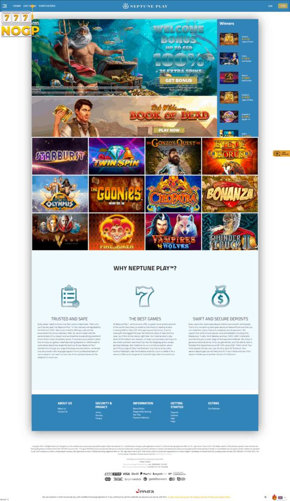 Neptune Play's homepage