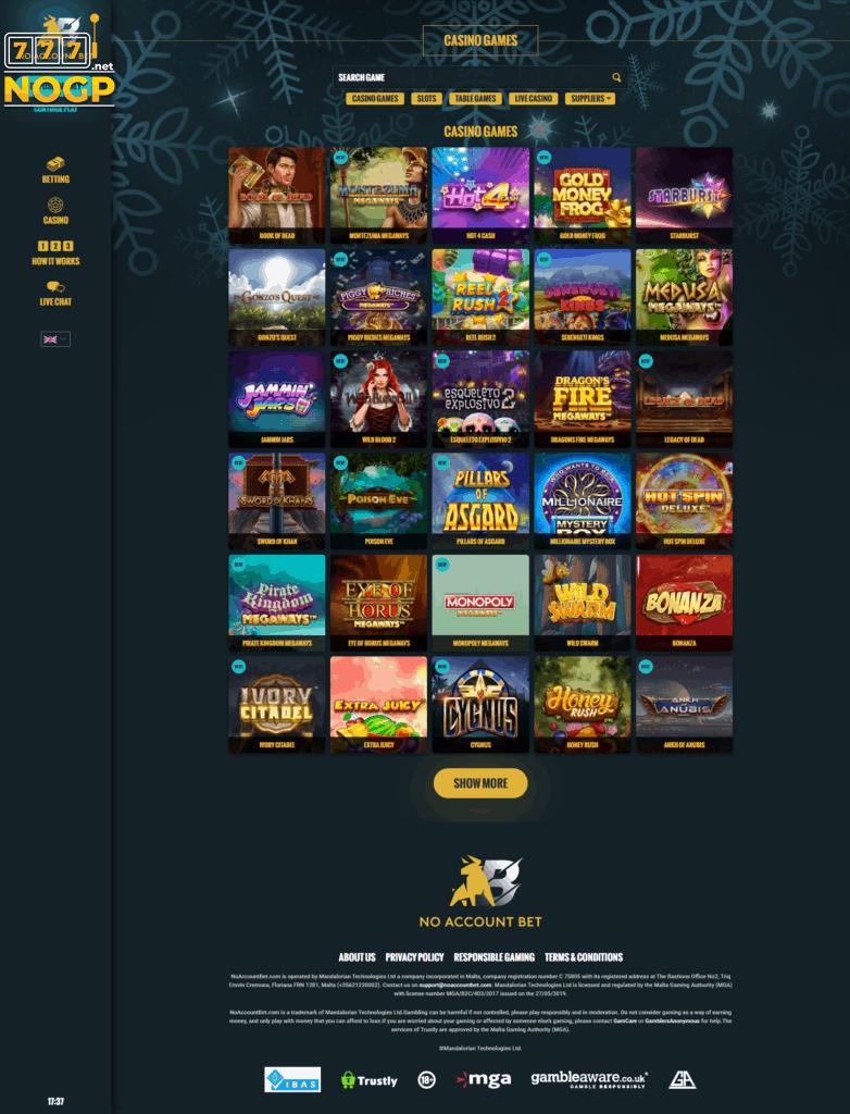 Casino lobby at No Account Bet