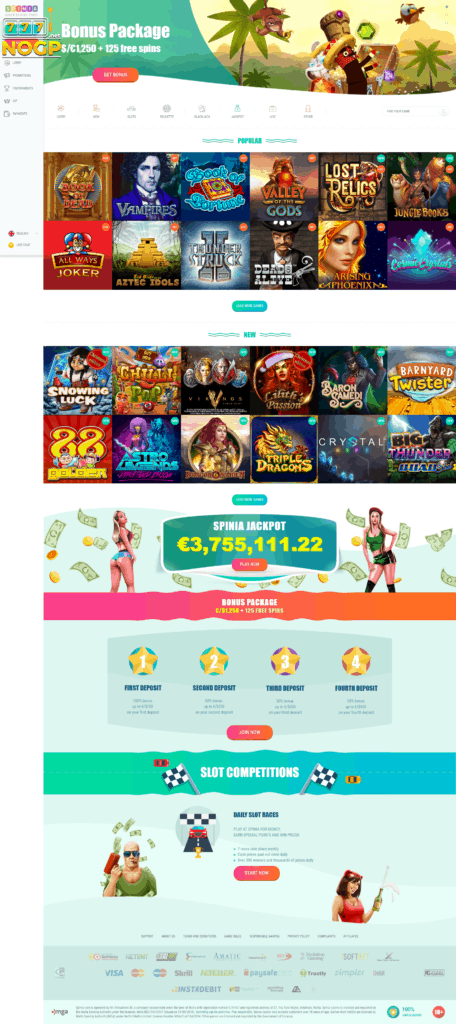 Spinia Casino's homepage