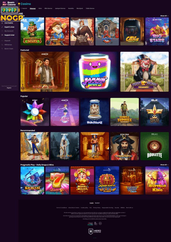 Boom Casino's Casino Lobby
