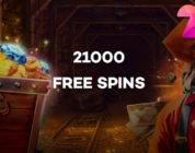21.com Casino geeft 21.000 gratis spins weg.