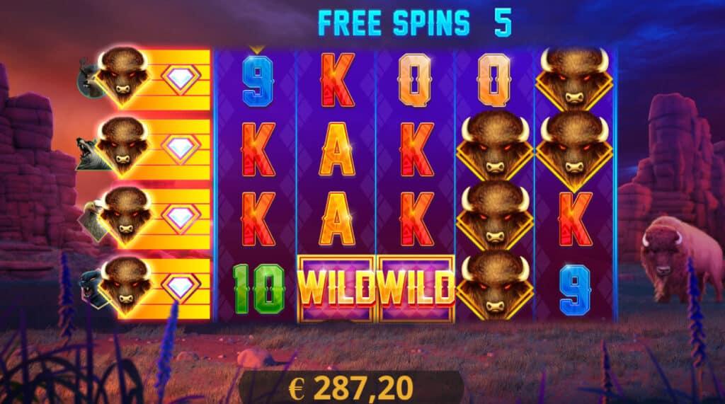 Buffalo Re-spin slot - Free spins bonus.