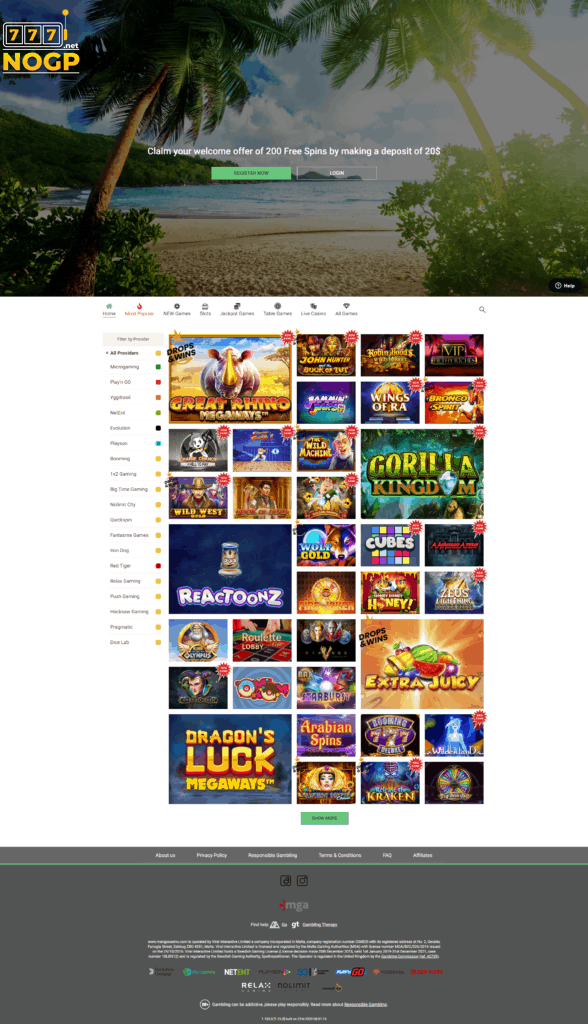 A screenshot of Mango Casino