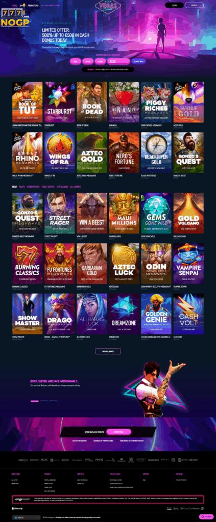 Neon Vegas Casino's homepage