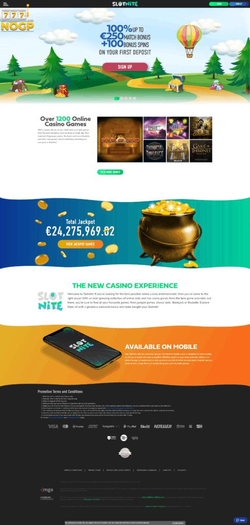 Slotnite homepage screenshot