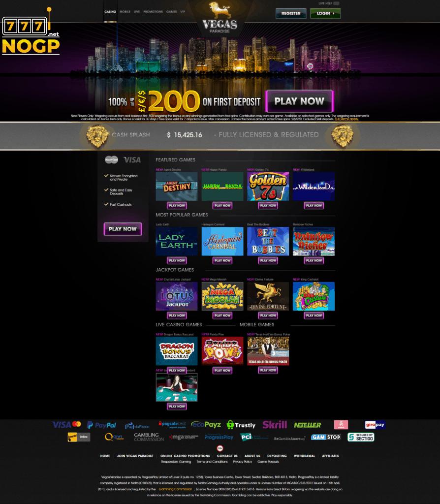 Vegas Paradise casino homepage