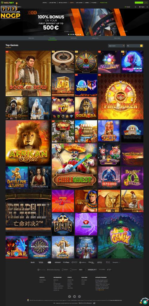 Weltbet's Casino Lobby