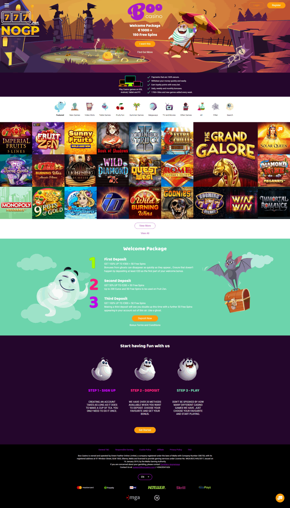 Boo Casino homepage