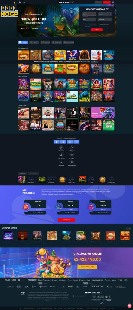Megaslot Casino's homepage