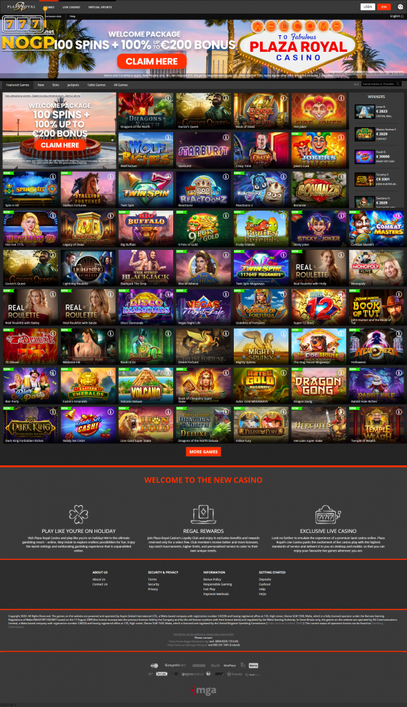 Plaza Royal screenshot homepage