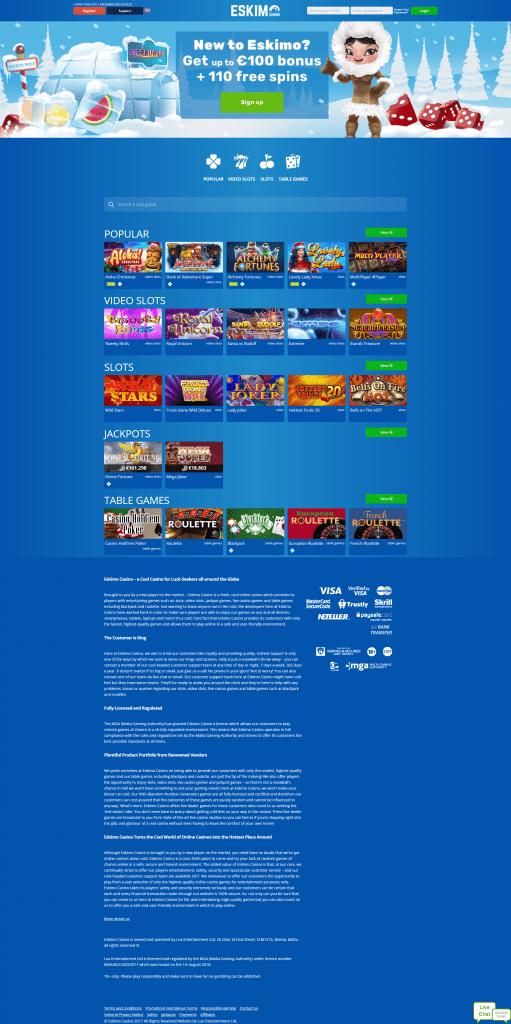 Online Casino Eskimo screenshot