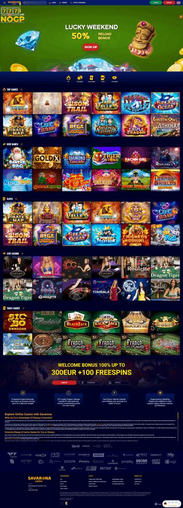 Savarona Casino screenshot homepage