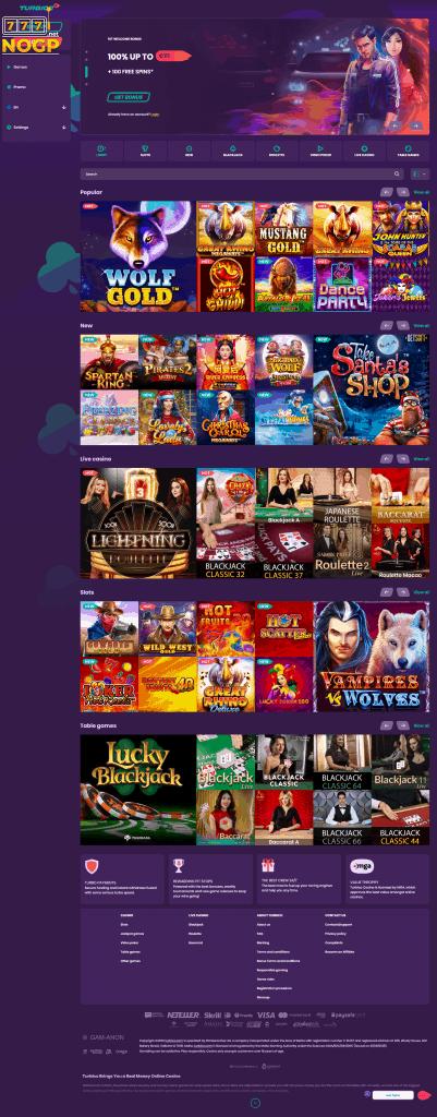 Turbico Casino screenshot homepage