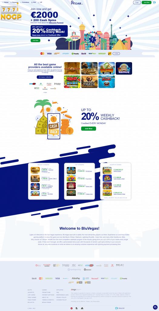 BluVegas Casino homepage