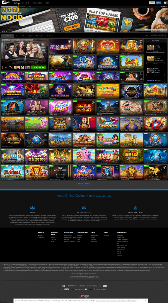 Hopa Casino screenshot