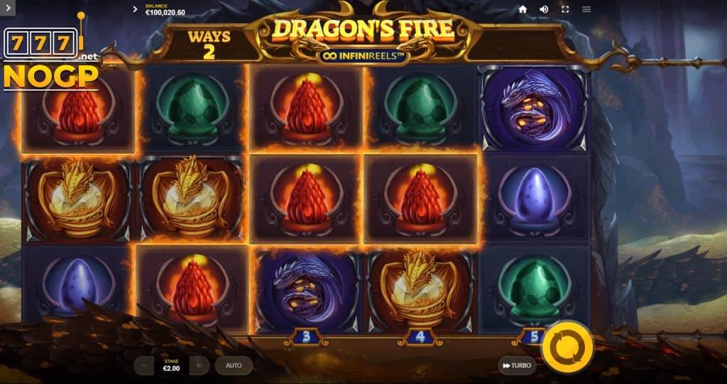 Dragon Fire InfiniReels speelveld groter