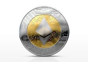 Een digitalisatie van de Ethereum munt