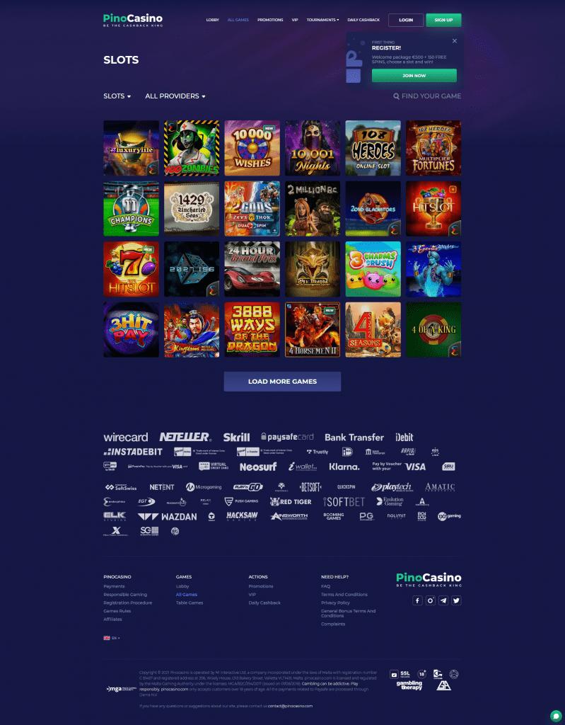 Pino Casino screenshot