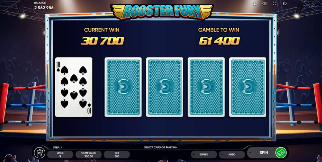 Rooster Fury slot gamble feature