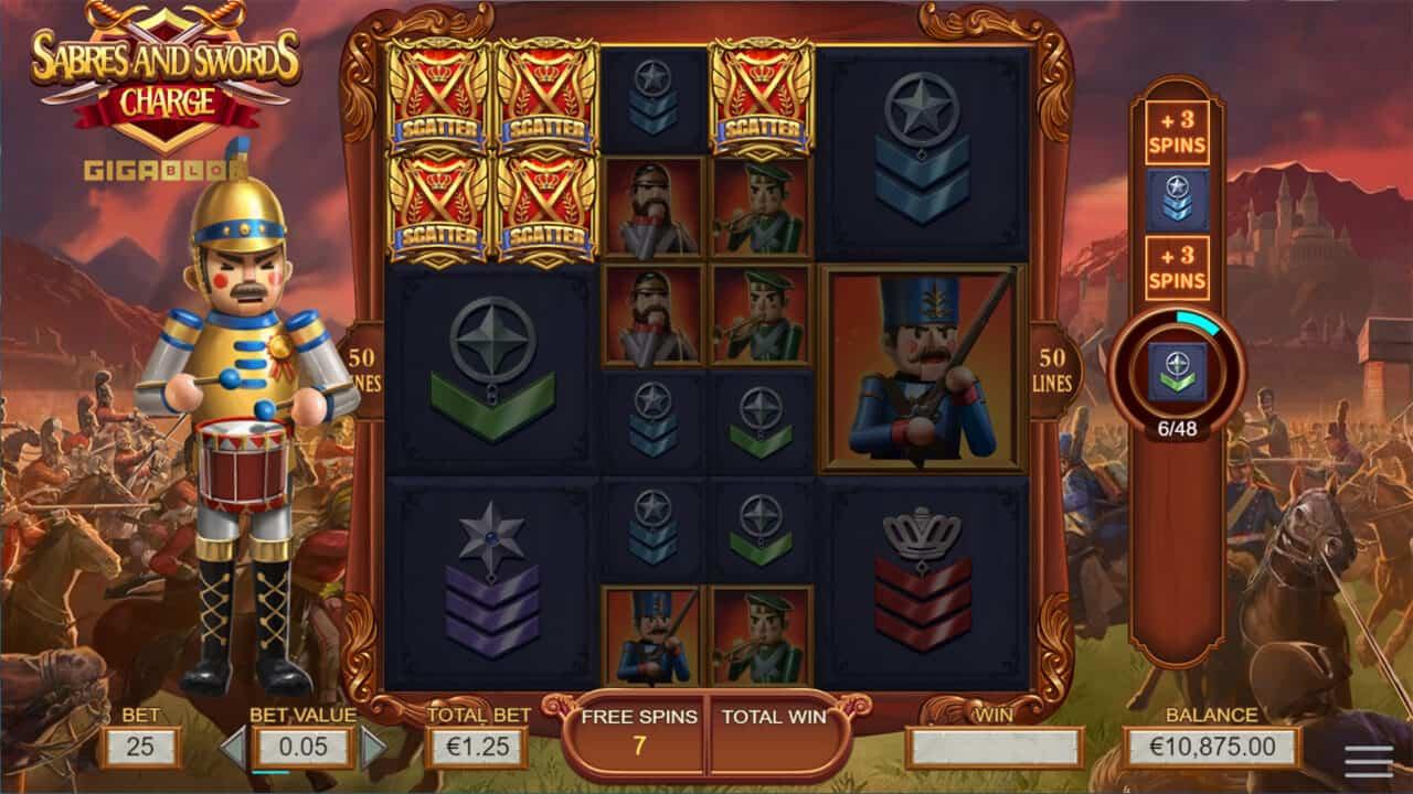 Swords and Sabres Charge Gigablox gokkast screenshot