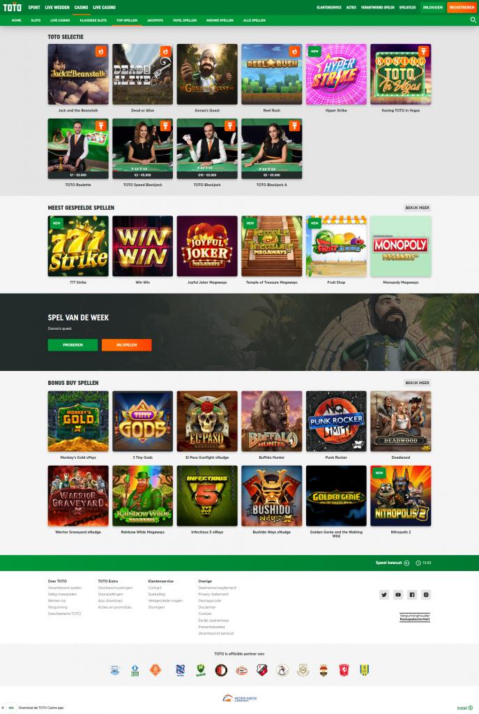 Een screenshot van Toto Online Casino